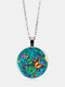 Vintage Glass Printed Green Multicolor Butterfly Pendant Necklace Women Necklace - Silver