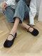 Femmes Retro Patchwork Square Toe Driving Chaussures plates - Noir