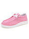 Women's Stylish Comfort Lace-up Wide Fit Low Top Slip-on Canvas Shoes Flats - Pink
