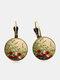 Vintage Geometric Round Alloy Glass Floral Pattern Print Women Earrings Jewelry - Bronze