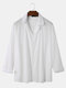 Mens Solid Long Sleeve V Neck Soft Casual Loose Holiday Top Blouse Shirts - White