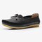 Women Butterfly Knot Decor Casual Comfy Slip On Loafers - Black