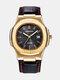Alloy PU Leather Belt Business Calendar Quartz Watch - Black