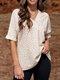 Leopard Print V-neck Loose Short Sleeve Women Blouse - Apricot