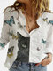 Cartoon Cat Butterfly Printed Long Sleeve Turn-down Collar Blouse For Women - White