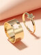 2 Pcs Trendy Brief Five-pointed Star Hollow Out Opening Adjustable Alloy Rings - Gold