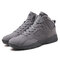 Men High Top Microfiber Leather Lace Up Sport Casual Trainers - Grey