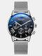 Business Men Watch Luminous Date Display Metal Mesh Belt Quartz Watch - Black Dial Silver Band