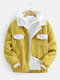 Mens Corduroy Sherpa Lined Button Up Lapel Cotton Warm Jackets - Yellow