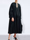 Casual Solid Color V-neck Long Sleeve Pleated Dress - Black