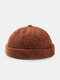 Unisex Cotton Solid Color Letter Cloth Label All-match Warmth Brimless Beanie Landlord Cap Skull Cap - Coffee