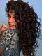 Natural Black Long Curly Hair Fluffy Afro Small Curly High Temperature Fiber Wigs - Black