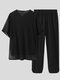 Plus Size Mens V-Neck Plain Drawstring Breathable Casual Long Sleeve Two Piece Outfits - Black