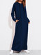 Solid Color Long Sleeves Casual Hooded Maxi Dress - Blue