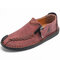 Menico Men Hand Stitching Leather Non Slip Soft Sole Casual Shoes - Red