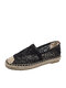 Women Sequined Decor Lace Breathable Handmade Stitching Flats Espadrille Fisherman Shoes - Black