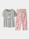 Women Cotton Pajamas Sets Letters Top With Floral Tropical Print Panty Sleepwear For Summer - Grey