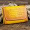 Men Genuine Leather Retro Wallet Purse - Yellow Brown