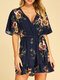 Floral Print Knotted V-neck Short Sleeve Casual Romper for Women - Navy