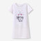 Girl's Unicorn Letter Print Short-sleeved Casual Soft Cotton Pajama Dress For 3-12Y - White