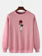 Mens Rose Graphic Print Round Neck Casual Drop Shoulder Pullover Sweatshirts - Pink