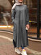 Striped Split Hem Plus Size Casual Dress with Pockets - Black