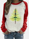 Tree Printed Long Sleeve O-neck Patchwork Sweatshirt For Women - Red