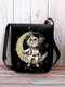 Women Cat Astronaut Moon Pattern Print Crossbody Bag Shoulder Bag - Black