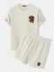 Mens Basic Knitted Rose Embroidery Patch Short Sleeve Casual Two Piece Outfits Cozy Loungewear - Beige
