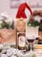 1 قطعة عيد الميلاد مجهولة الوجه العجوز دمية غطاء زجاجة النبيذ كيس النبيذ هدية حقيبة زينة - أحمر