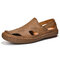Mens Closed Toe Hand Stitching Hole Leather Sandals - Brown