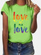 Multi-color Letter Print Short Sleeve Casual T-shirt For Women - Green