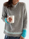 Print Contrast Color Long Sleeve Casual Sweater For Women - Gray