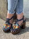 Plus Size Women Flowers Printing Closed Toe Chunky Heels Sandals - Blue