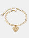 Luxury 26 English Letters Women Anklet Wild Heart Pendant Anklet Jewelry Gift - O