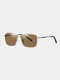 Unisex Wide Metal Frame Fashion Outdoor Cool Driving UV Protection Polarized Sunglasses - Brown