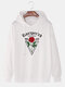 Mens Rose Pattern Chest Print Plain Pullover Casual Hoodie - White