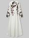 Calico Long Sleeve V-neck Casual Print Dress For Women - White