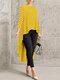 Print Polka Dot High Low Long Sleeve Plus Size Blouse - Yellow