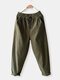 Casual Solid Color Elastic Waist Drawstring Plus Size Haren Pants with Pockets - Army Green