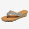 Women Flower Knitted Comfy Clip Toe Casual Wedges Sandals - Gray
