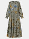 Ethnic Calico O-neck Long Sleeve Print Dress For Women - Apricot