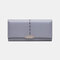Women Hollow Out Multifunctional Multi-card Slots Photo Card Phone Bag Money Clip Wallet Purse - Purple