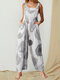 Printed Wide-Legged Side Pockets Sleeveless Jumpsuits - White