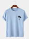 Mens 100% Cotton Coconut Tree Chest Print Holiday Short Sleeve T-Shirts - Blue
