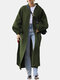 Solid Color Pockets Waistband Puff Sleeves Casual Coats for Women - Green
