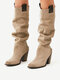 Plus Size Women Casual Solid Stitching Chunky Heel Slip On Riding Boots - Beige