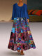 African Print Two Pieces Plus Size Vintage Maxi Dress - Blue