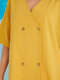 Solid Color Buttons V-neck Cotton Casual Loose Shirt for Women - Yellow