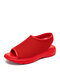 Women Breathable Knitted Fabric Peep Toe Comfy Slip On Sports Casual Sandals - Red